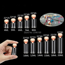 100pcs D22mm Clear Glass Bottle Test Tube With Cork Stopper DIY Gift Tools Wishing Bottles Lab Supply Portable Empty Packaging(China)
