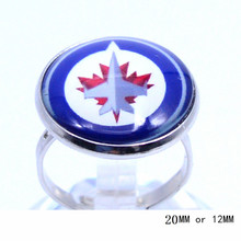 Winnipeg Jets Team Ring Ice Hockey Charms NHL Sport Jewlery Round Glass Dome Silver Plated  Ring For Women Girl Adjustable