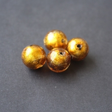 10Pieces /lot 14mm Glass lampwork beads Silver Foil Olive Gold Color for jewelry &DIY Craft(China)