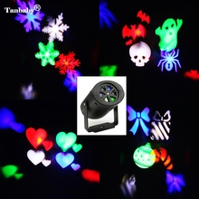 Tanbaby Laser Projector Lamps LED Stage Light Heart Snow Spider Bowknot Bat Christmas Party Garden Lamp Indoor Lighting