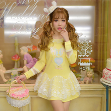 Candy Rain Girl Dress yellow Color High Waist Embroidery Lace Women Dress Half Dress O Neck Two Pieces XL C22AB6015