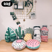 AAG Fruit 3D Plant Throw Pillow Home Decorative Pillow Pineapple Cactus Rest Pillow Couch Office Car Bed Lumbar Support Cushion(China)