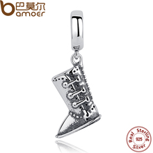 BAMOER 2017 Winter Collection 925 Sterling Silver Boots Shoes Pendant Charms fit Bracelets SCC029(China)
