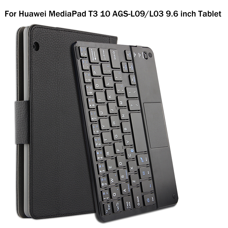 For Huawei MediaPad T3 10 AGS-L09/L03 9.6 inch Tablet Magnetically Detachable ABS Bluetooth Keyboard PU Leather Case Cover +Gift<br>