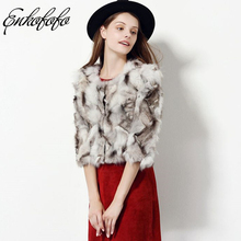 2017 New Fashion Winter Women Real Fox Fur Coat Short Design Luxury Three Quarter Sleeve Slim Coats Genuine Jacket Freeshipping(China)
