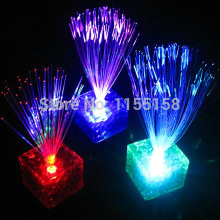 7 Color Changing Optical Fiber Flashing LED Cube Nightlight Lamp Party Xmas Decoration Gift  IA904