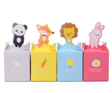 100Pcs/lot Cartoon Animal Paper Bag Candy Box Rabbit/Lion/Panda/Fox Kids Birthday Party Favor DIY Gift Box Supplies Gift Bag