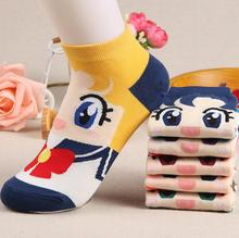 New Women's Girls Sailor Moon Cartoon Anime Character Pattern Short Socks Cosplay