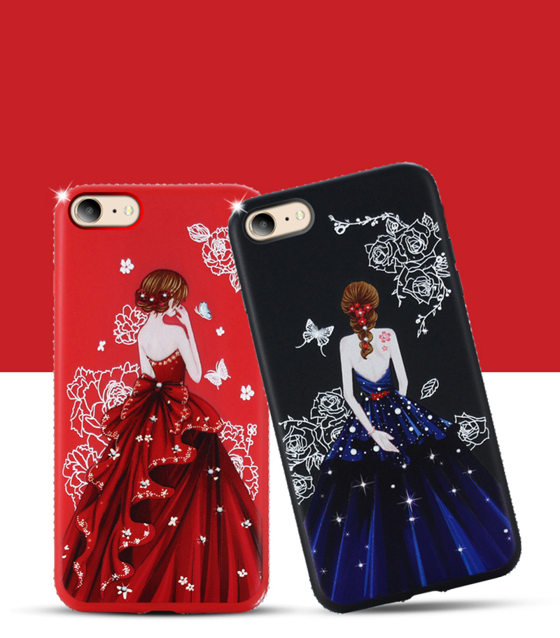 dress girl silicone case iphone 6 s 7 8 plus (3)