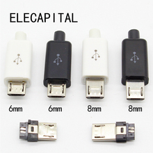 10pcs Micro USB 5PIN Welding Type Male Plug Connectors Charger 5P USB Tail Charging Socket 4 in 1 White Black