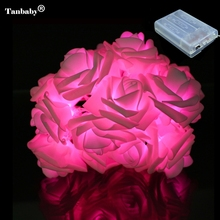 Tanbaby 2M 20 Rose Battery LED String Light Christmas/Wedding/Party Decoration Lights colorful holiday outdoor decoration led