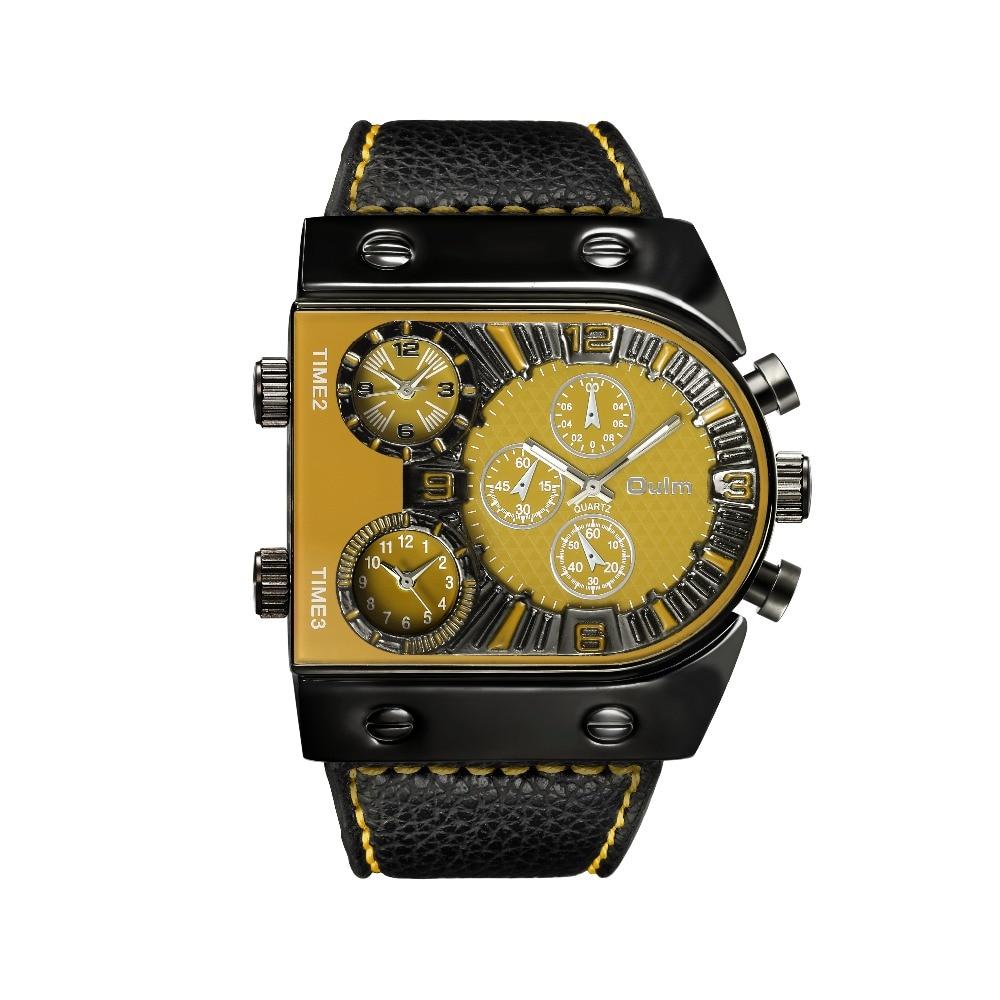 OULM Sport Watch Men Quartz Analog Clock 3 Time Zone Sub-dials Design Big case Oversize Fashion Black Wrist Watches relogio 25