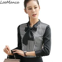 Buy 2018 Autumn New Women Clothing Long Sleeve Shirt Elegant Bow Striped Formal Chiffon Blouse Office Female Work Wear Tops for $14.55 in AliExpress store