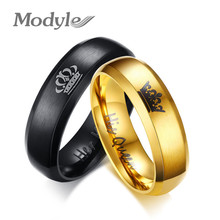 Modyle 2017 New Fashion His Queen and Her King Crown Ring Black and Gold Color Wedding Rings for Women Fashion Jewelry(China)
