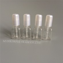 10pcs/lot 5g Mini Cute Clear Plastic Empty Square Nail Polished Bottle With White Cap Brush Plastic Nail Bottle For Children(China)