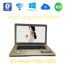 2017 14 inch laptop Intel Celeron J1900 2.0GHz 8G ram 750GB HDD Easy Carry Slim pc windows 10 system  built in camera
