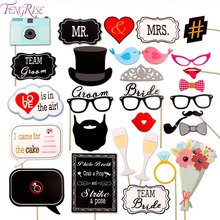 FENGRISE Mr Mrs Photo Booth Props Wedding Decoration Team Bride Groom Just Married Funny Photobooth Bridal Shower Party Supplies(China)