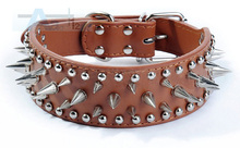 "Punk 2inch Wide Cool Sharp Spiked Studded Leather Dog Collars 15-24"" For Medium Large Breeds Pitbull Mastiff Boxer Bully 4 Sizes(China)"