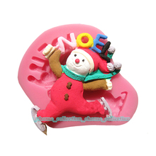 3D Xmas Christmas Happy Scarf NOEL Letter Snowman Chocolate Sugar Craft Pastry Baking DIY Mold Cake Fondant Decor Silicone Mold