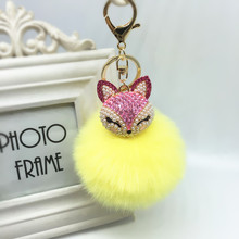 2017 New Artificial Rabbit Fur Ball Keychain Fox For Head Inlay Rhinestone Car Key Chain Handbag Key Ring Delicate Gift(China)