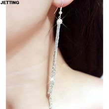 JETTING 2016 Women's Chic Rhinestone Tassels Earings Super Long Dangle Earrings Cocktail Party Wedding Linear Earrings 1 Pair(China)