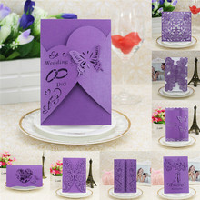20Pcs Purple Delicate Carved Romantic Wedding Party Invitation Card Envelope Dinner invitation cards decoration cover drop ship