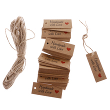 Buy 100 Vintage Kraft Paper HANDMADE WITH LOVE Gift Tags Wedding Favor Labels DIY Party Decor Gift Christmas Supply Accessories for $2.69 in AliExpress store