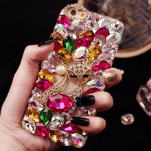 3D Luxury Bling Crystal Diamond Phone Case For LG P710 Optimus L7II Girl Sparkle Jewelry Coque Fox Perfume Trim Cover Pink Funda