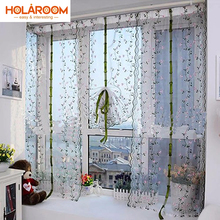 Pastoral Roman Curtain Floral Tulle Curtains For Kitchen bedroom Embroidered Voile cortina in kitchen Living Room Hotel Windows