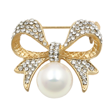 baiduqiandu brand Factory Direct Sale Crystal Rhinestones Fashion Bow Brooch Pins for Women with a simulated pearl