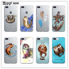 Otters Holding Hands Case For iPhone 5 5S SE 6 6S 6Plus 6S Plus 7 7Plus Otter sloth luxury Hard plastic Protective sleeve