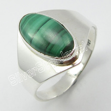 92.5%  Silver MALACHITE Gem Ring Size 10 ! Fine Jewelry Store