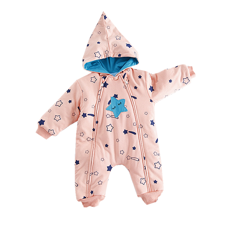 Newborn Baby Winter Clothes Fashion Star Hooded Romper Infant Babies Clothes Roupas De Bebes Meninas Jumpsuit Warm Overalls<br>