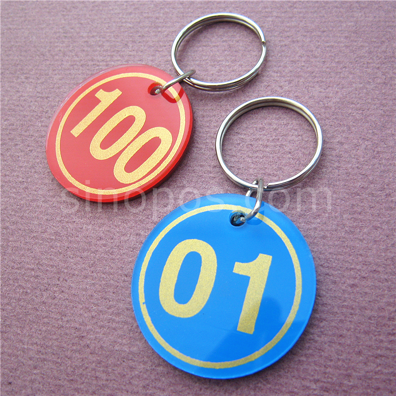 38mm round Green Metal hotel Key fob tag ring personalised room number address