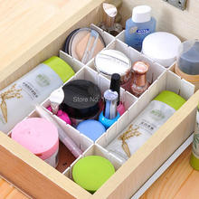 6Pcs/Set Adjustable Plastic DIY Drawer Partitions Divider Free Combination Storage Organizer White DIY Grid Desktop Cosmetic Box