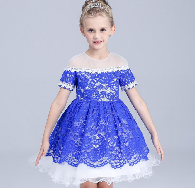 2016 Summer Girls Short-Sleeved Dress Children Lace Mesh Princess Party Dress<br>