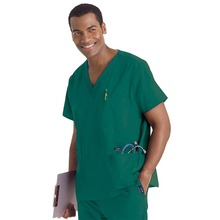 Hennar Men uniform medical, scrub top with V neck short sleeve 100% cotton medical top,(China)