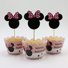 Cupcake Wrapper Topper Cake Pick Minnie Mouse Cartoon Girl Kid Birthday Party Baby Shower Wedding Cake Decoration Supplies 24pcs