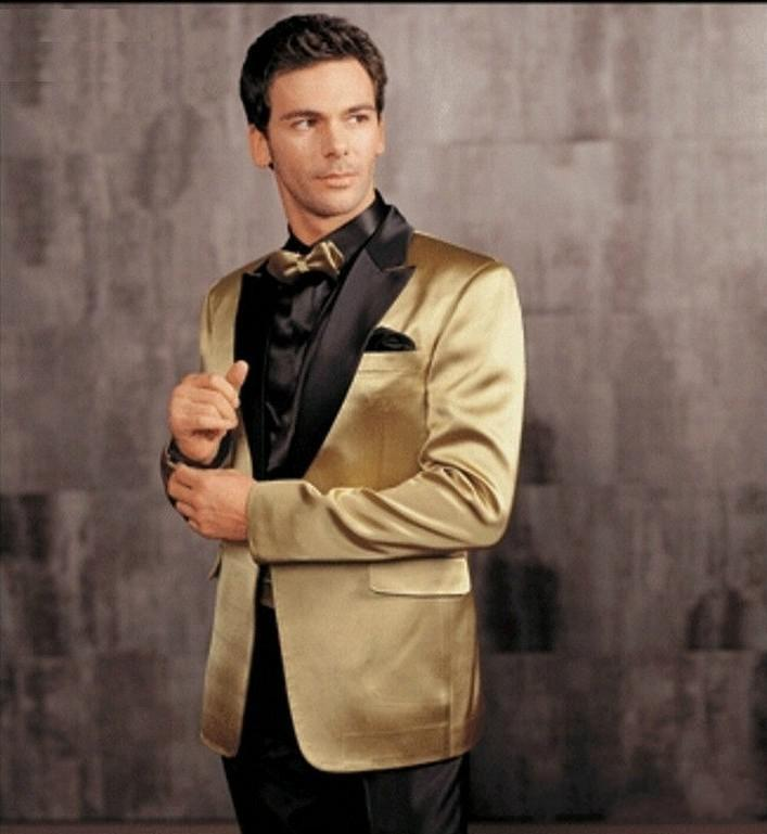 New Arrival One Button Gold Satin Groom Tuxedos Groomsmen Mens Wedding Suits Prom Bridegroom (Jacket+Pants+Tie) NO:363