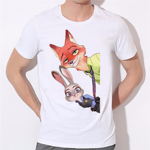 2016 Zootopia T Shirt Homme 3D Clothing Anime T-Shirt men White Funny T Shirts Nick Judy Tees For 24-22#(China)