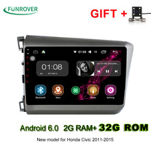 Funrover 9 inch 2 din Android 6.0 Car Radio DVD player GPS 2G RAM 32G For Honda Civic 2011-2015 Support DVR TPMS OBD Camera RDS(China)