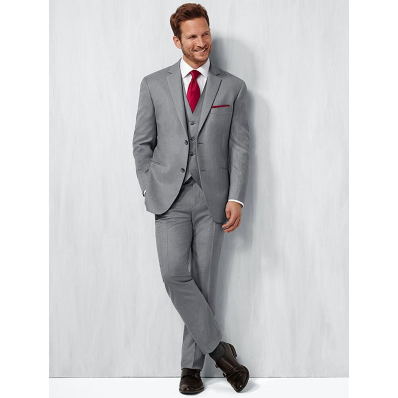 26.1 Custom Made Handmade 3pcs Mens Suit Slim Fit Tuxedos Grooms Suits Wedding Suits Formal Party (jacket+pants+vest)