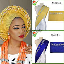 2017the Newest stones and beads african aso oke headtie wrapper wholesale aso ebi women headtie length 8.6m 14colors available.(China)