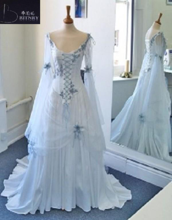 Vintage-Celtic-Wedding-Dresses-White-and-Pale-Blue-Colorful-Medieval-Bridal-Gowns-V-Neck-Corset-Long (2)