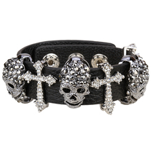 Black leather skull cross bracelet for women crystal adjustable bangle punk biker halloween jewelry LD03 wholesale dropshipping(China)