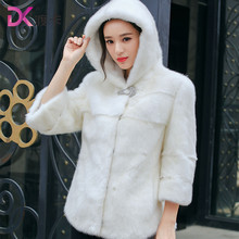 Mink coat female models with the entire marten hat 2017 fashion wavy fur mink fur jacket young winter(China)