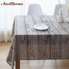 Awillhome 11Size Hot Wood Grain Tablecloths Home Rectangle Tablecloths Linen Pastoral Dining TableCloths Home Table Covers Party