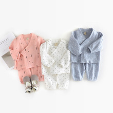 Soft Gauze Baby Clothing Sets Girls Cotton Print Clothes Boys Dots Stars Print 2pcs Suits Newborn Infants Korean Design