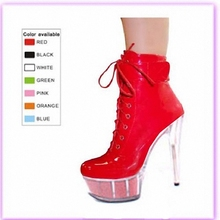 15cm buying artificial light PU tou package with evening dress shoes nightclub ultra high heels model props boots(China)