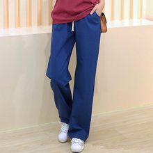 2017 Women Linen Trousers Elastic Waist Loose Long Pants Casual Pantalones De Mujer Calcas Femininas M-2XL MA0136